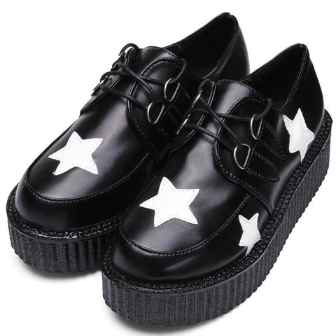 Casual Retro Black Five Ponited Star Platform Lace Up Round Toe Flat  Shoes