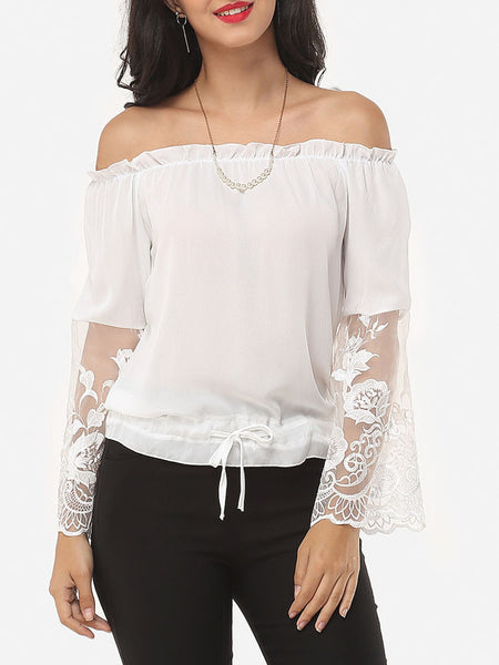 Patchwork Captivating Off Shoulder Blouse - Bychicstyle.com
