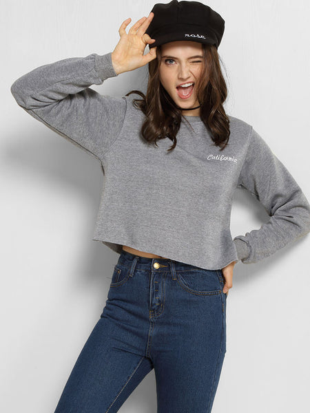 Crew Neck Letters Sweatshirt - Bychicstyle.com