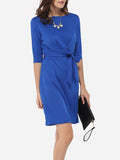 ByChicStyle Bowknot Boat Neck Dacron Plain Bodycon-dress - Bychicstyle.com