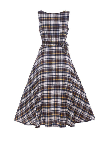 2 Color Round Neck Bowknot Plaid Skater-dress - Bychicstyle.com