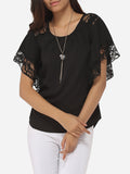 ByChicStyle Casual Batwing Loose Fitting Round Neck Chiffon Lace Hollow Out Lace Patchwork Plain Blouse