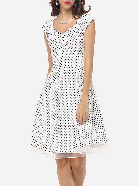 Patchwork Polka Dot Delightful Sweet Heart Skater-dress - Bychicstyle.com