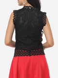 ByChicStyle Hollow Out Lace Extraordinary Crew Neck Blouse - Bychicstyle.com