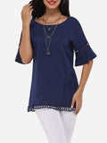 ByChicStyle Mandarin Sleeve Round Neck Linen Hollow Out Plain Short-sleeve-t-shirt - Bychicstyle.com