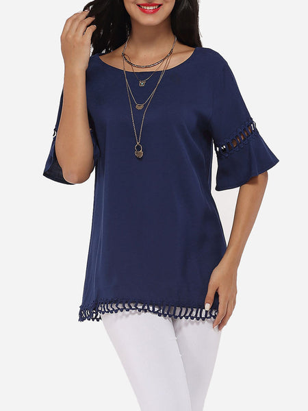 Mandarin Sleeve Round Neck Linen Hollow Out Plain Short-sleeve-t-shirt - Bychicstyle.com