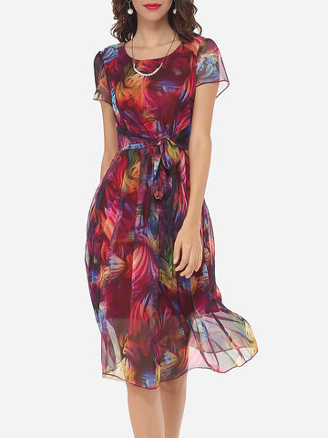Bowknot Round Neck Gauze Printed Skater Dress - Bychicstyle.com