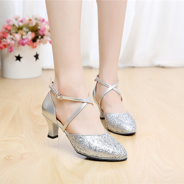 Casual Sequins Pure Color Mary Jane Modern Mid Heel Shoes