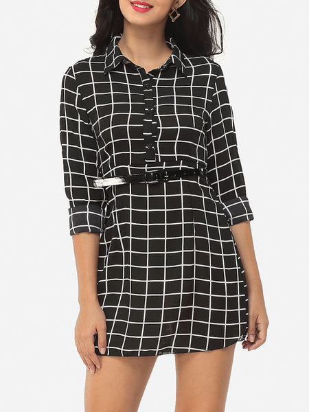 Casual Plaid Single Breasted Designed Polo Collar Blouse