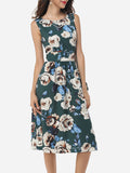 ByChicStyle Casual Assorted Colors Floral Printed Zips Elegant Vintage Round Neck Skater-dress