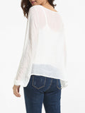 ByChicStyle Casual Puff Sleeve Round Neck Chiffon Lace Patchwork Plain Blouse