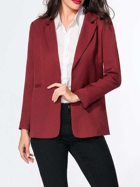 Notch Lapel Plain Blazer - Bychicstyle.com