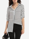 ByChicStyle Single Breasted Polo Collar Dacron Striped Blouse - Bychicstyle.com