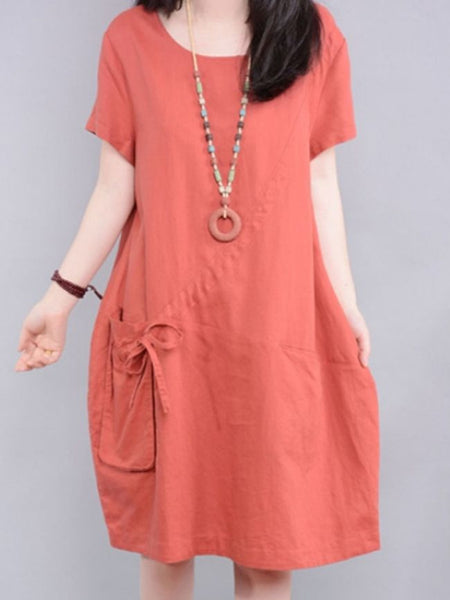 Charming Round Neck With Pockets Shift-dres - Bychicstyle.com