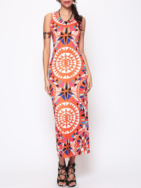 Tribal Geometric Printed Round Neck Maxi Dress - Bychicstyle.com