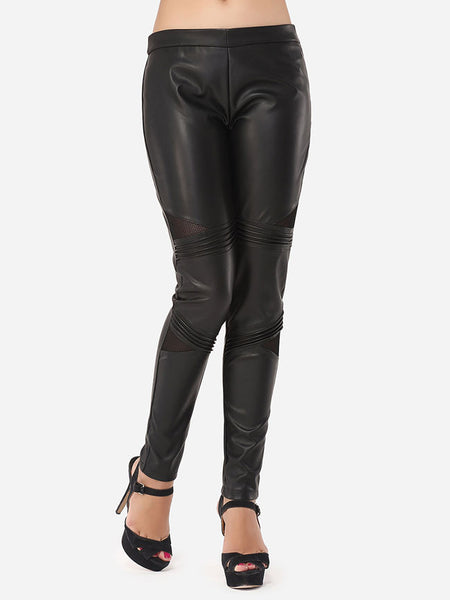 Hollow Out Plain Hot Pu Leggings - Bychicstyle.com