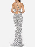 ByChicStyle Casual Assorted Colors Printed Stripes Bowknot Cross Straps Dramatic Spaghetti Strap Maxi-dress