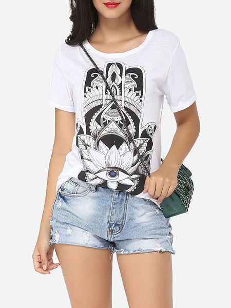 Cartoon Printed Modern Round Neck Short-sleeve-t-shirt - Bychicstyle.com