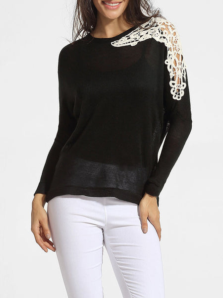 Casual Round Neck Decorative Lace Patchwork Sweater