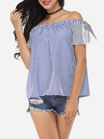 Bowknot Off Shoulder Dacron Striped Short-sleeve-t-shirt - Bychicstyle.com