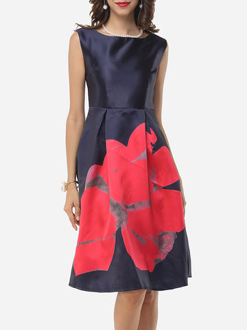 Casual Assorted Colors Floral Printed Zips Graceful Round Neck Skater-dress