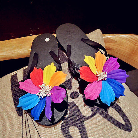 Casual Eight Color Flower Clip Toe Beach Flat Flip Flops