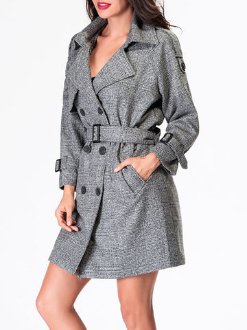 Casual Double Breasted Lapel Trench-coat