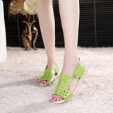 ByChicStyle Casual Leather Peep Toe Slip On Soft Sole Sandals
