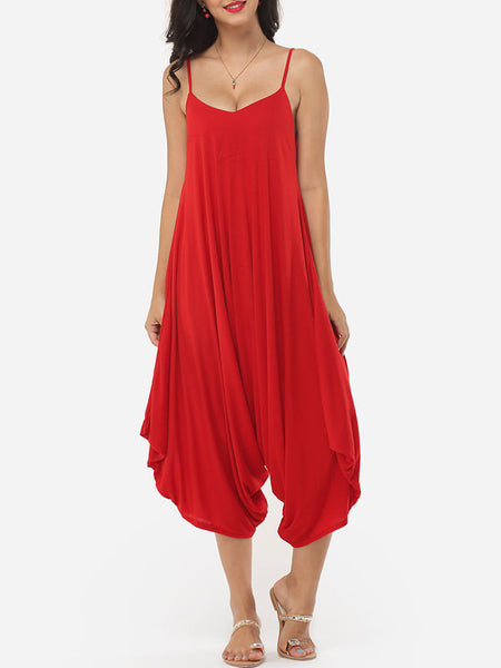 Plain Loose Fitting Designed Jumpsuits - Bychicstyle.com