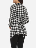ByChicStyle Cross Back Asymmetrical Hems Collarless Cotton Houndstooth Printed Overcoats - Bychicstyle.com