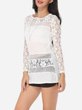 ByChicStyle Hollow Out Lace Patchwork Plain Courtly Round Neck Long-sleeve-t-shirt - Bychicstyle.com