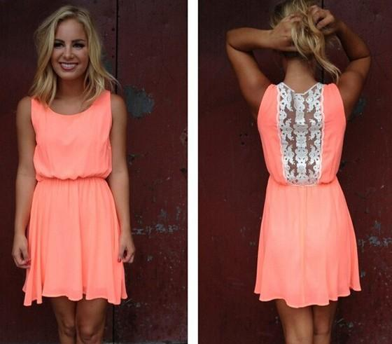 Casual Fluorescence Orange Plain Lace Hollow-out Chiffon Mini Dress
