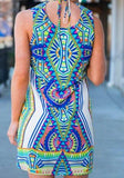 ByChicStyle Casual Geometric Floral Print Ethnic V-neck Sleeveless Vintage Mini Dress