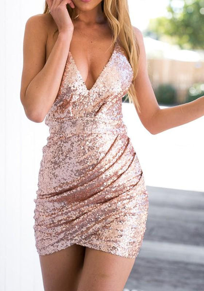 Casual Golden Pink Sequin Spaghetti Strap Bodycon V-Neck Sleeveless Mini Dress