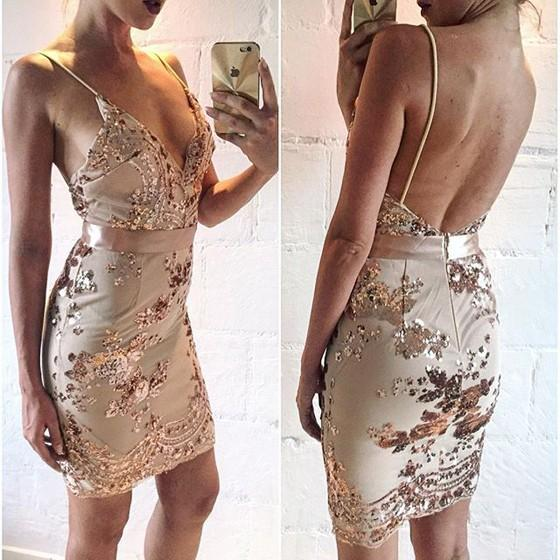 Casual Golden Patchwork Condole Belt Sequin Plunging Neckline Mini Dress