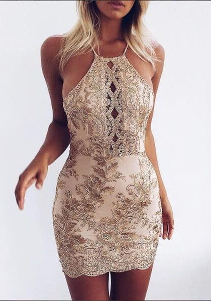 Casual Golden Patchwork Lace Tie Back Cross Back Mini Dress