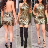 ByChicStyle Casual Golden Patchwork Sequin Round Neck Spandex Mini Dress