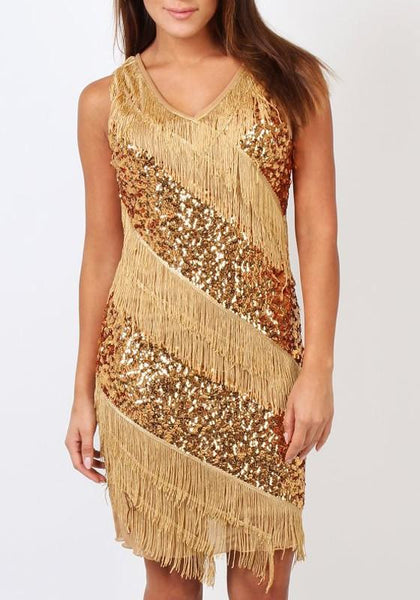 Casual Gold Patchwork Sequin Tassel V-neck Tina Turner Nightclub Gatsby Flapper Dress