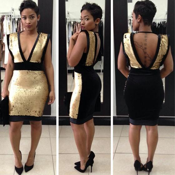 Casual Golden Patchwork Sequin V-neck Backless Sleeveless Mini Dress