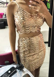 ByChicStyle Golden Sequin Backless Spaghetti Strap Wavy Edge Las Vegas Birthday Party Mini Dress