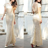 ByChicStyle Casual Golden Sequin Round Neck Short Sleeve Fashion Maxi Dress