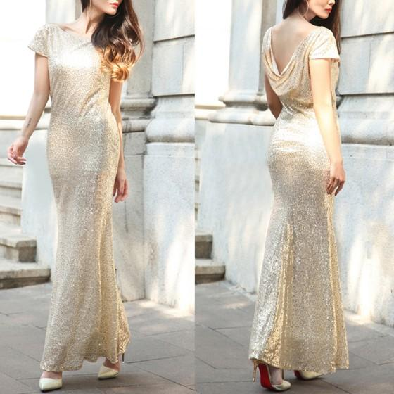 Casual Golden Sequin Round Neck Short Sleeve Fashion Maxi Dress