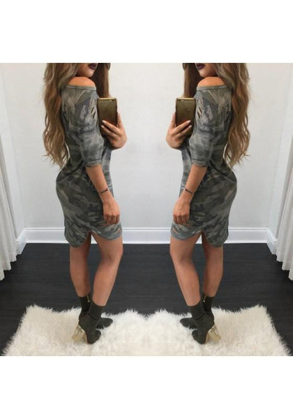 Casual Green Camouflage Irregular Boat Neck Streetwear Polyester Mini Dress