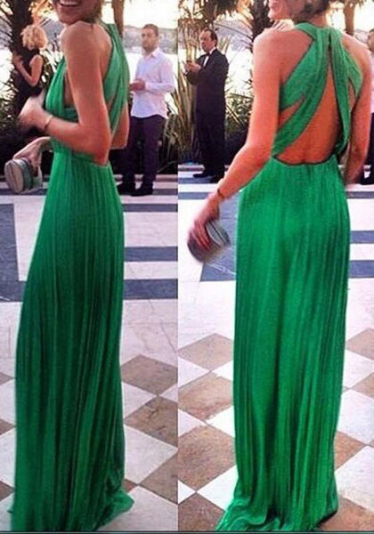 Casual Green Draped Cut Out Backless V-neck Sleeveless Maxi Dress