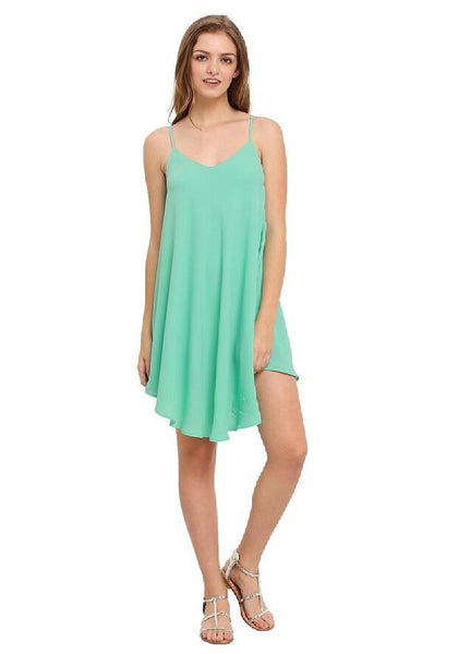 Green Draped Irregular Cross Back Backless Spaghetti Strap For Junior Cute Mini Dress
