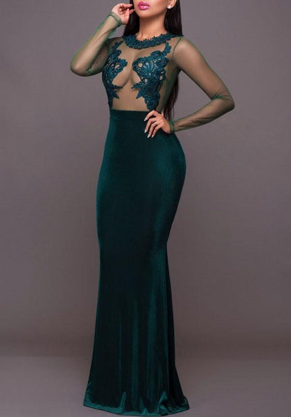Green Embroidery Grenadine Draped See-through Mermaid Backless Cocktail Party Maxi Dress