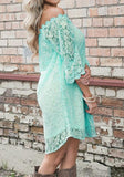 ByChicStyle Casual Green Floral Lace Swallowtail Half Sleeve Bohemian Mini Dress