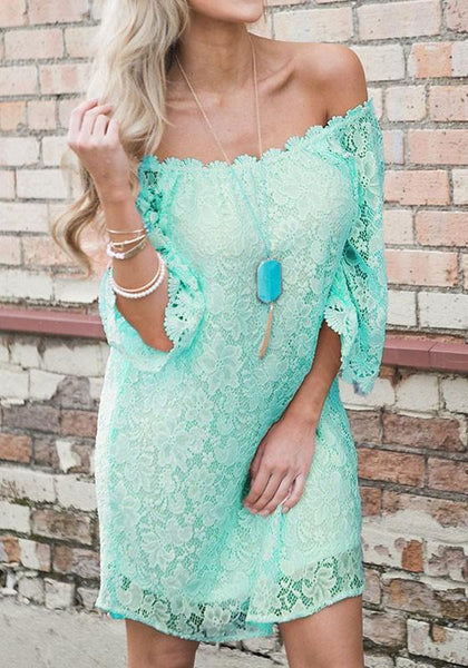 Casual Green Floral Lace Swallowtail Half Sleeve Bohemian Mini Dress