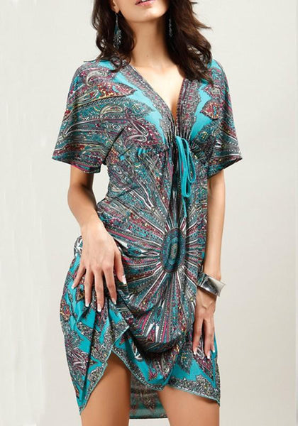 Casual Green Floral Print Drawstring V-neck Backless Batwing Sleeve Bohemian Mini Dress