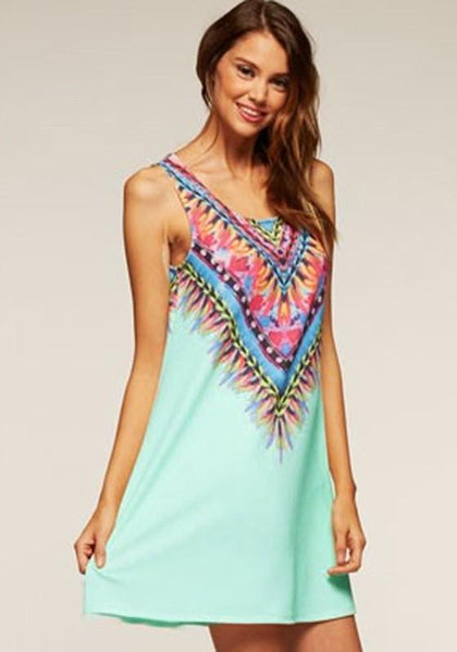 Casual Green Geometric Print Round Neck Sleeveless Bohemian Chiffon Mini Dress